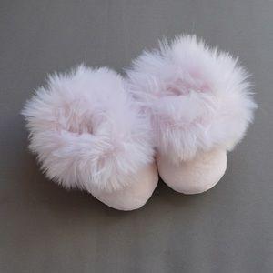 Newborn fluffy pink Restoration Hardware slippers